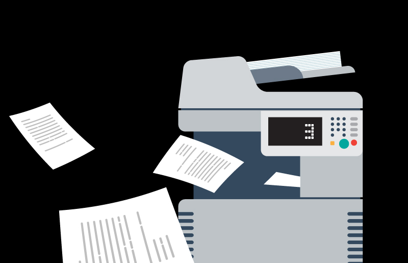 Graphical image of a printer printing 3 pieces of paper