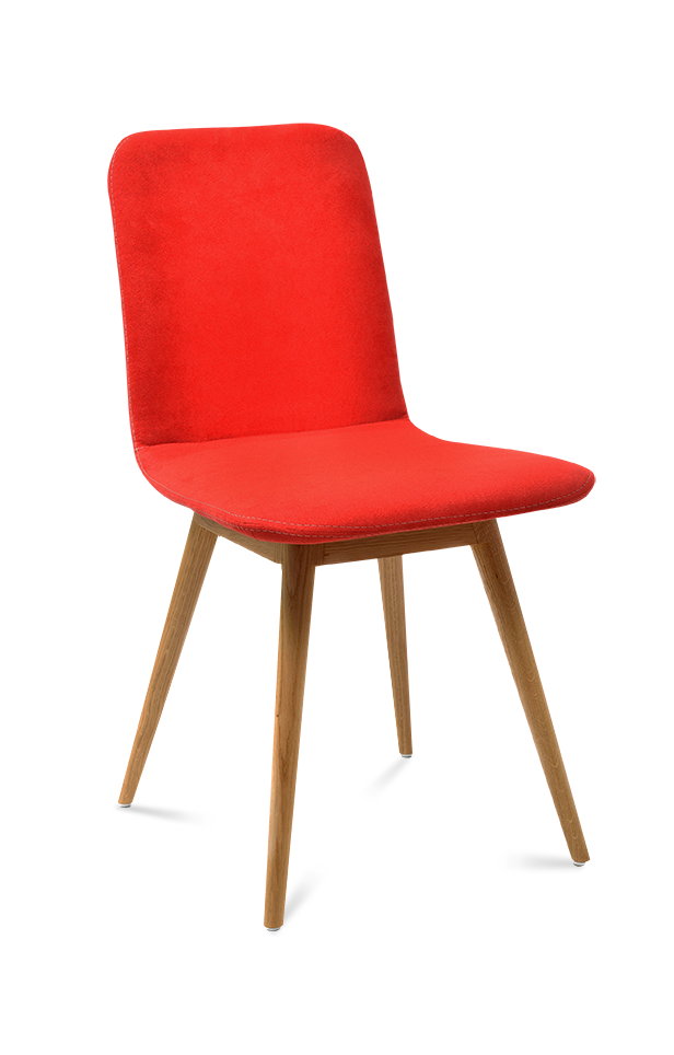a red chair with wooden legs